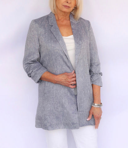 Boho Chic Linen Boyfriend Jacket - Chambray Blue