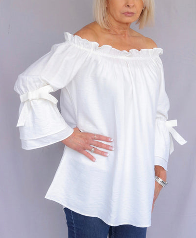 Boho Chic Off Shoulder Bell Sleeve Blouse - White