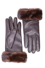 Leather Gloves with Canadian Mink Fur Cuffs - Brown