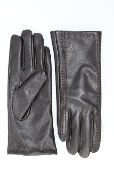 Leather Gloves with Stitching Detail - Brown