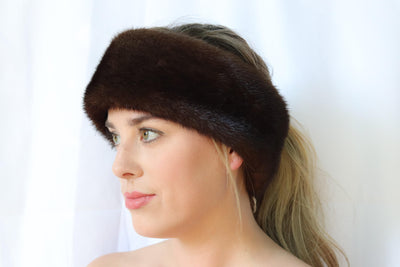 Mink Fur Headband - Mahogany (Brown)