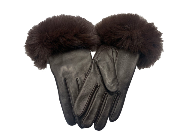 Rippe's Furs Leather Gloves with Fox Fur Trim - Brown - Appr. $250.00