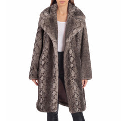 Badgley Mischka Faux Fur Python Print Bunny Coat - Grey - Sugg. $200.00