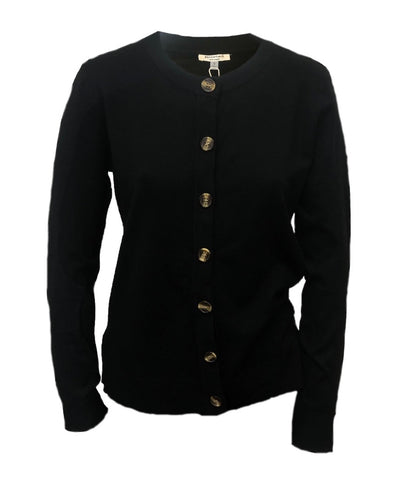 Essentials Milano Horn Button Cardigan by Sioni Apparel - Black