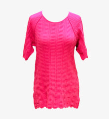 Caryn Vallone Cable Knit Short Raglan Sleeve Top - Fuschia