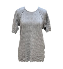 Caryn Vallone Cable Knit Short Raglan Sleeve Top - Grey