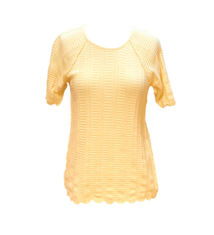 Caryn Vallone Cable Knit Short Raglan Sleeve Top - Lemon