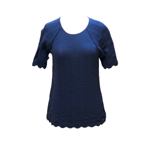 Caryn Vallone Cable Knit Short Raglan Sleeve Top - Navy