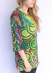 Adore Apparel Printed Burnout Top with Button Sleeve - Green/Blue Multi