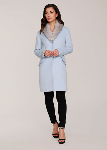 Dolce Cabo Wool Coat with Detachable Fur Collar - Powder Blue - Sugg. $400.00