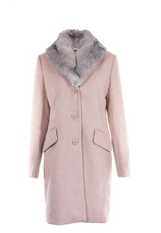 Dolce Cabo Wool Coat with Detachable Fur Collar - Blush - Sugg. $400.00