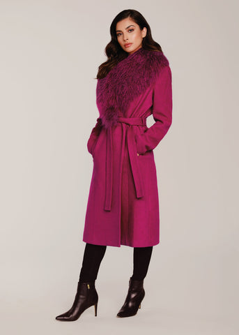 Dolce Cabo Midi Coat with Detachable Fur Collar - Magenta - Sugg. $525.00