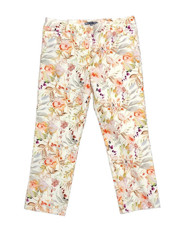 Elliott Lauren Floral Print Crop Jean - Orange/Multicolor