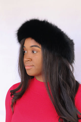 Fox Fur Headband - Black