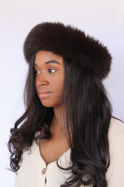 Fox Fur Headband - Brown