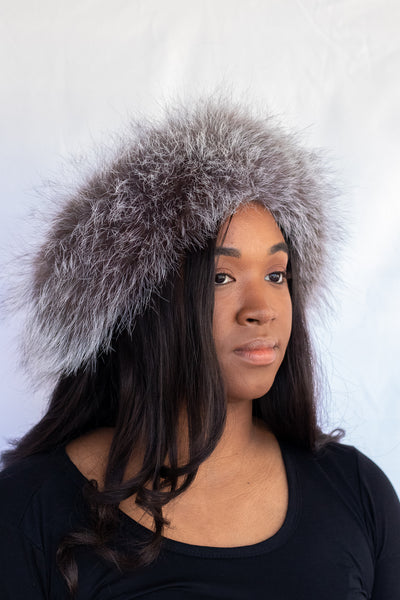 Fox Fur Headband - Silver Compare At: $200
