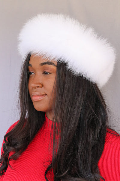 Fox Fur Headband - White Compare At: $200