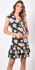 Frank Lyman Floral Cap Sleeve Dress - Navy/Yellow