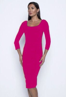 Frank Lyman Block Neck 3/4 Sleeve Ruched Side Dress - Candy Pink