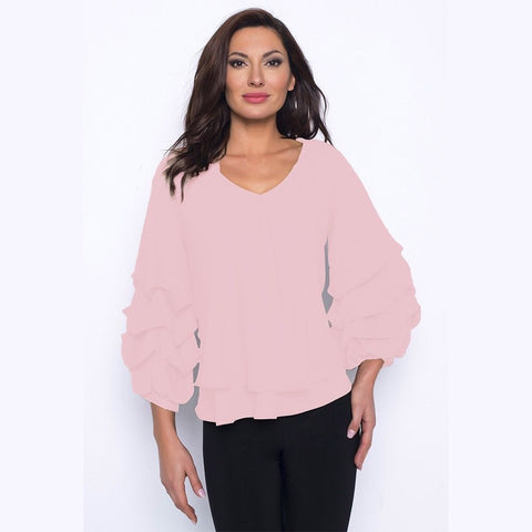 Frank Lyman Double Layer V-Neck Bunch Sleeve Top - Rosebud
