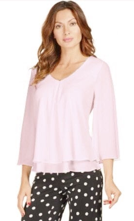 Frank Lyman V-Neck Open Sleeve Sheer Overlay Top - Petal Pink