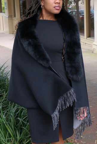 Rippe's Furs Fringed Cashmere Blend Shawl with Fox Fur Collar - Black - Appr. $700.00