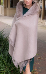 Rippe's Furs Fringed Cashmere Blend Shawl with Fox Fur Collar - Mocha - Appr. $700.00