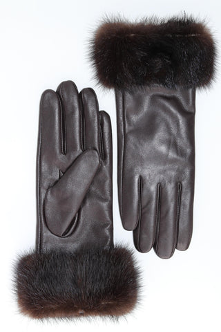 Leather Gloves with Mink Fur Cuffs - Brown