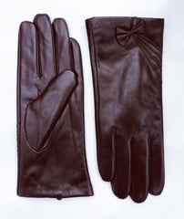 Leather Gloves with Bow Detail - Brown