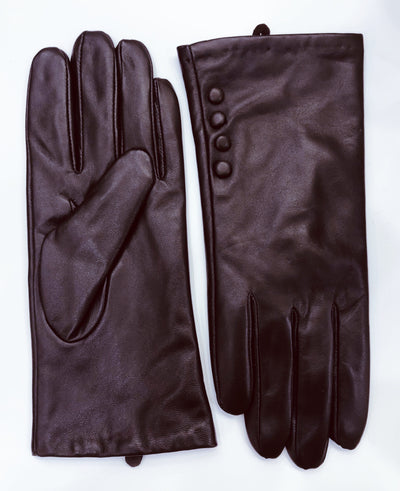Leather Gloves with Button Detail - Brown