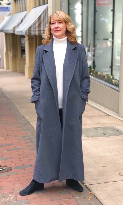 Cashmere Blend Belted Wrap Coat - Charcoal