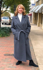 Rippe's Cashmere Blend Belted Wrap Coat - Charcoal - Sugg. $1100.00