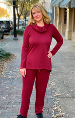 Pure Essence Bamboo Terry Athleisure Tunic & Pant Set - Brick