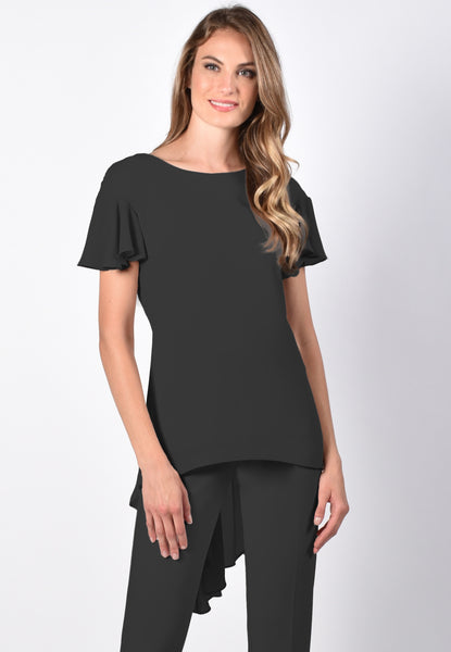 Frank Lyman Short Sleeve Pleated Back Blouse - Black