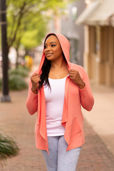 Pure Essence Open Front Bamboo Hoodie - Spice Island