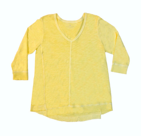 Elliott Lauren Seam Detail V-Neck Cotton Knit Top - Lemon