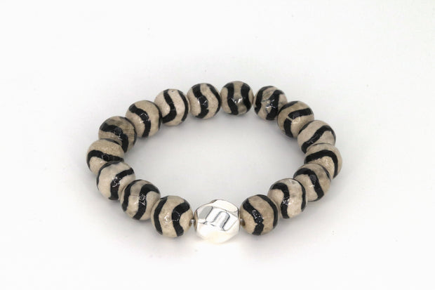 Simon Sebbag Designs - Wavy Stripe Tortoise Agate Stretch Bracelet with Sterling Silver Bead