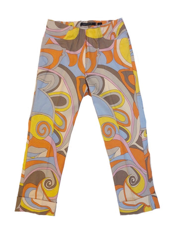 Insight New York Techno Stretch Psychedelic Print Crop Pant - Organge/Multi