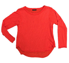 Nally & Millie Solid Scoop Neck Long Sleeve Knit Top - Poppy