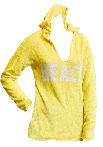 "Project J ""Beach"" Slub Knit V-Neck Linen Hoodie - Lemon"