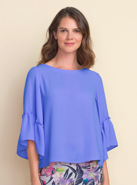 Joseph Ribkoff Ruffled Bell Sleeve Top - Aegean Sea
