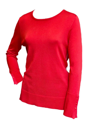 Metric Knits Sweaterknit Contrast Piping Tunic - Coral