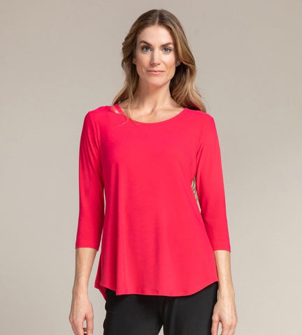 Sympli Go To Classic T 3/4 Sleeve - Watermelon