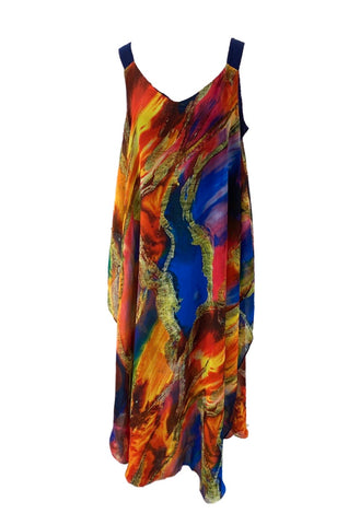 Radzoli Sleeveless V-Neck Overlay Midi Dress - Orange/Blue/Multicolor