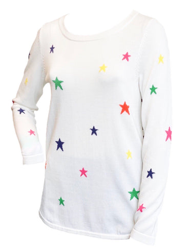 Metric Knits Star Print Long Sleeve Knit Top - White/Multi