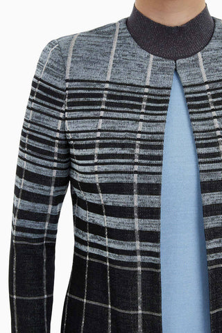 Ming Wang Plus Size 3/4 Sleeve Plaid Jacket - Misty Blue/Black
