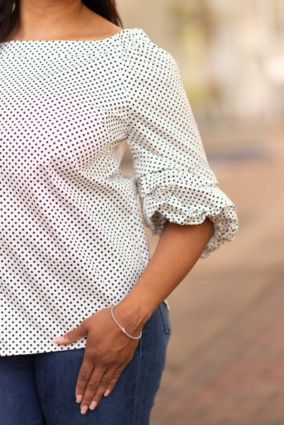 AZI Ann Puff Sleeve Polka Dot Top - White/Black