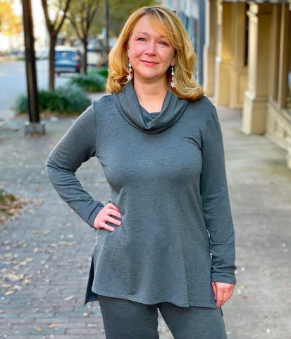 Pure Essence Bamboo Terry Cowl Neck Tunic - Charcoal