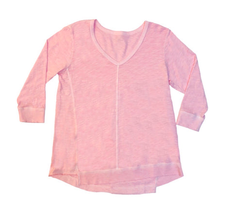 Elliott Lauren Seam Detail V-Neck Cotton Knit Top - Rose