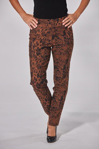 Krazy Larry Pull On Ankle Pant - Brown Python